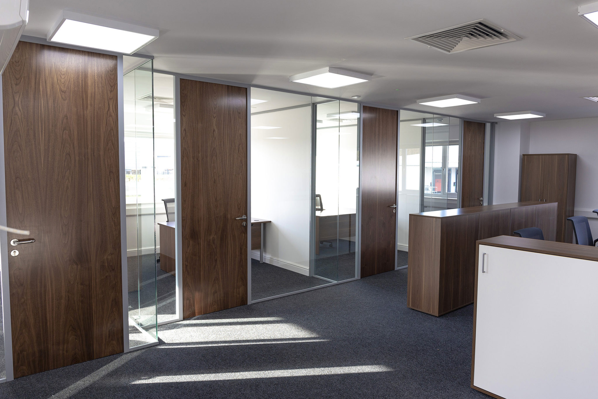 single glazed partition with timber door